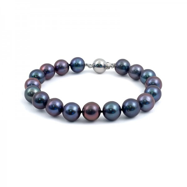 Natural pearl bracelet in black