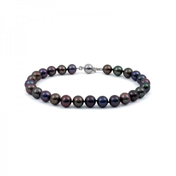 Natural pearl bracelet in black