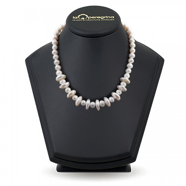 Natural baroque pearl necklace, coin shape 14.0 - 15.0 mm
