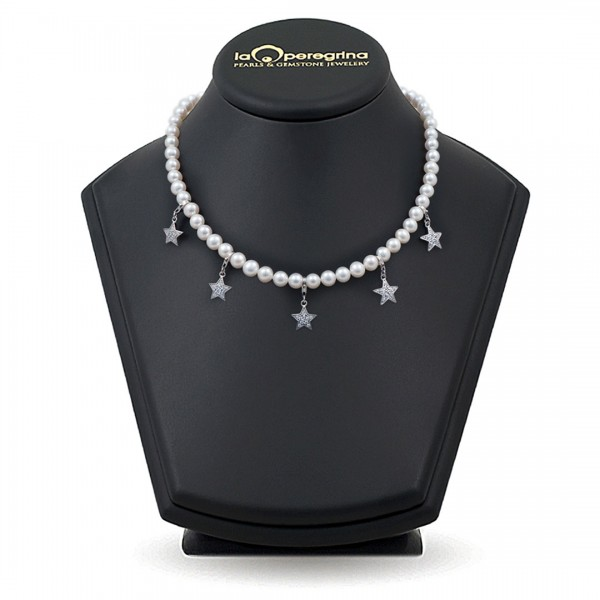 Necklace made of white natural pearls AA +, 7.5-8.0 mm