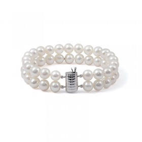 Bracelet with two strands of natural white pearls