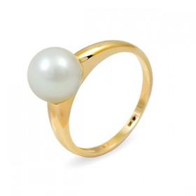 Кольцо из золота 585 пробы с белым пресноводным жемчугом 7,5 мм