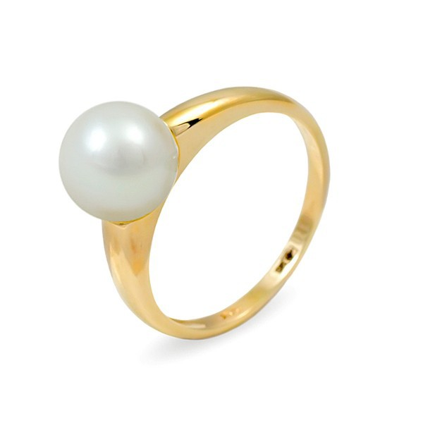 Ring from 14 karat gold with natural pearls 7.5 mm