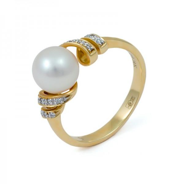Кольцо из золота 585 пробы с морским жемчугом Акойя и бриллиантами