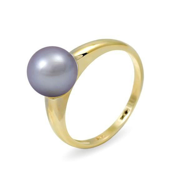 Кольцо из золота 585 пробы с серебряным пресноводным жемчугом 7,5 мм