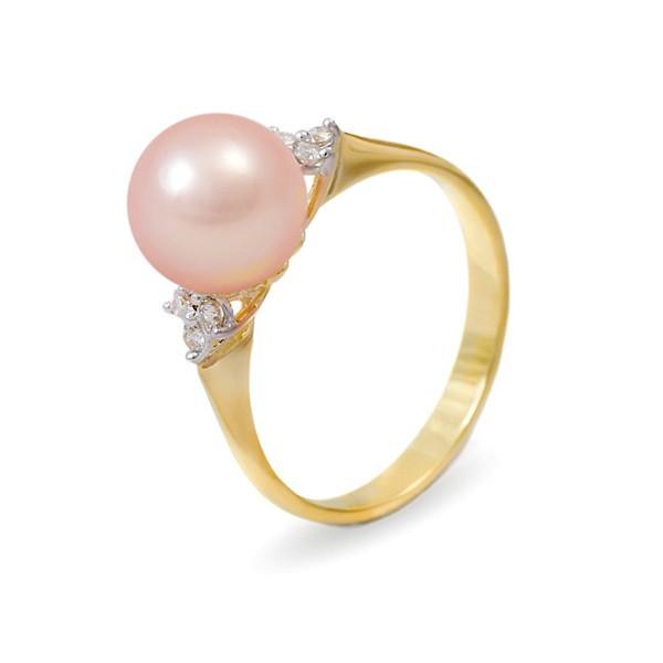 Кольцо из золота 585 пробы с розовым пресноводным жемчугом 7,5 мм и 6 бриллиантами 0,12К