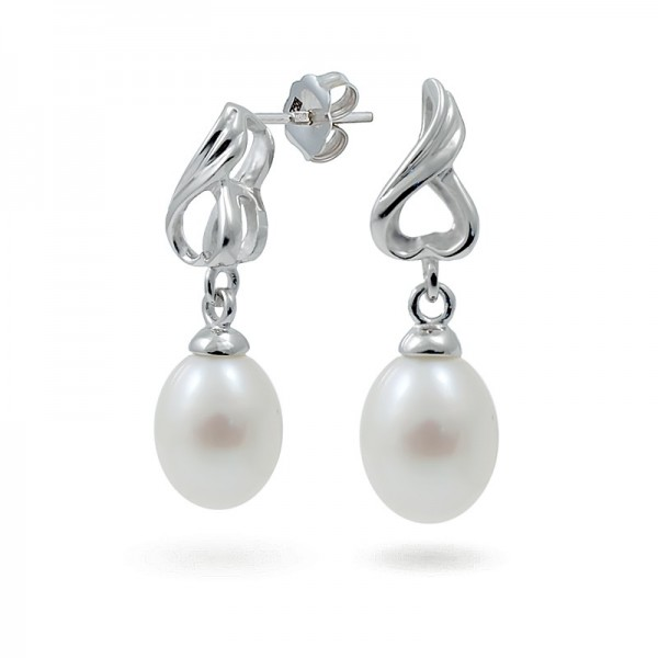 925 Sterling Silver Earrings with Natural Pearls