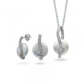 Комплект из серебра 925 пробы с натуральным жемчугом
