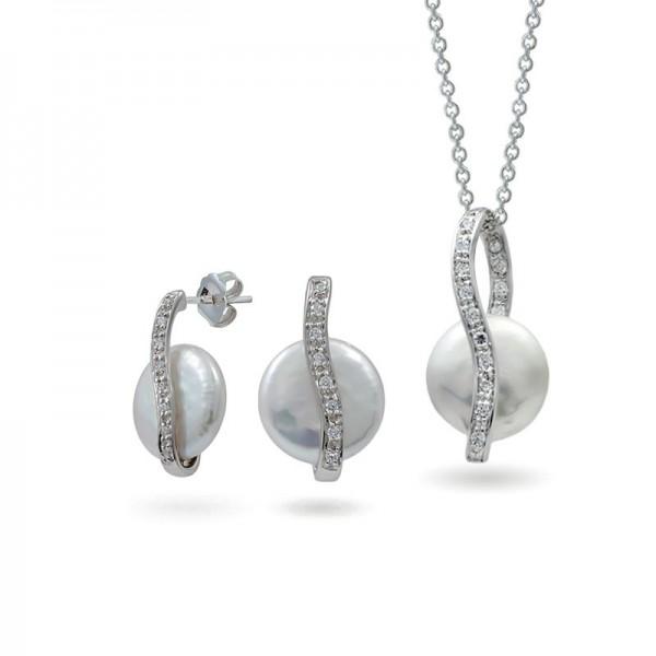 Комплект из серебра 925 пробы со вставками из пресноводного жемчуга