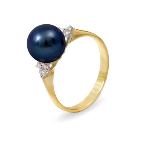 Кольцо из золота 585 пробы с черным пресноводным жемчугом 7,5 мм и 6 бриллиантами 0,12К