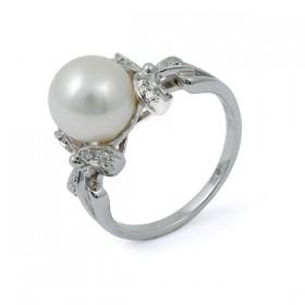 Кольцо из белого золота 750 пробы с морским жемчугом Акойя и бриллиантами