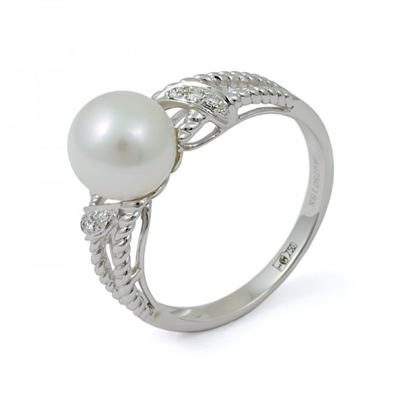 Ring in white gold 750 with natural pearls and diamonds