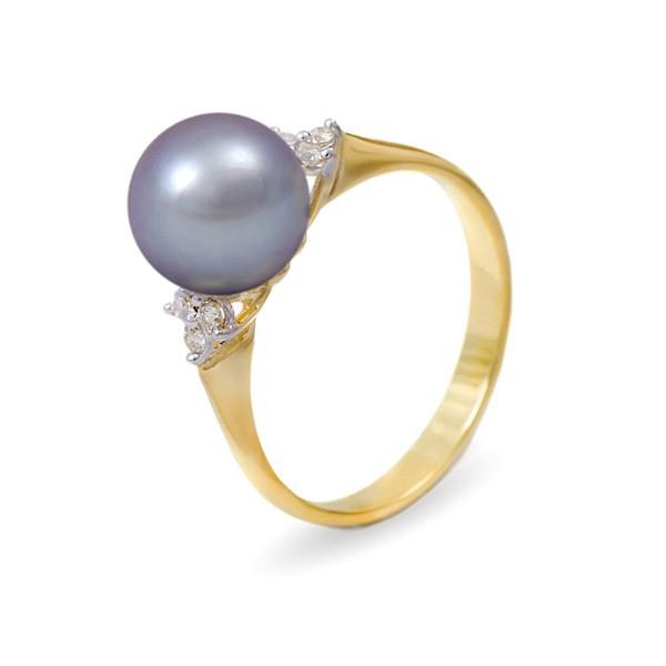 Кольцо из золота 585 пробы с серебряным пресноводным жемчугом 7,5 мм и 6 бриллиантами 0,12К
