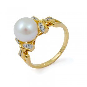 Ring in gold 750 with natural pearls and diamonds