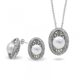 Set of 925 sterling silver with natural pearls