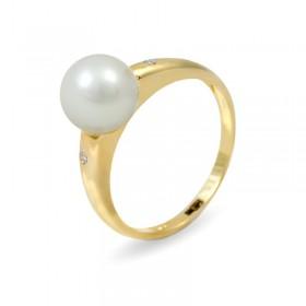 Кольцо из золота 585 пробы с белым пресноводным жемчугом 7,5 мм и 2 бриллиантами 0,015К