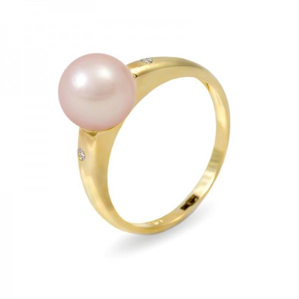 Кольцо из золота 585 пробы с розовым пресноводным жемчугом 7,5 мм и 2 бриллиантами 0,015К