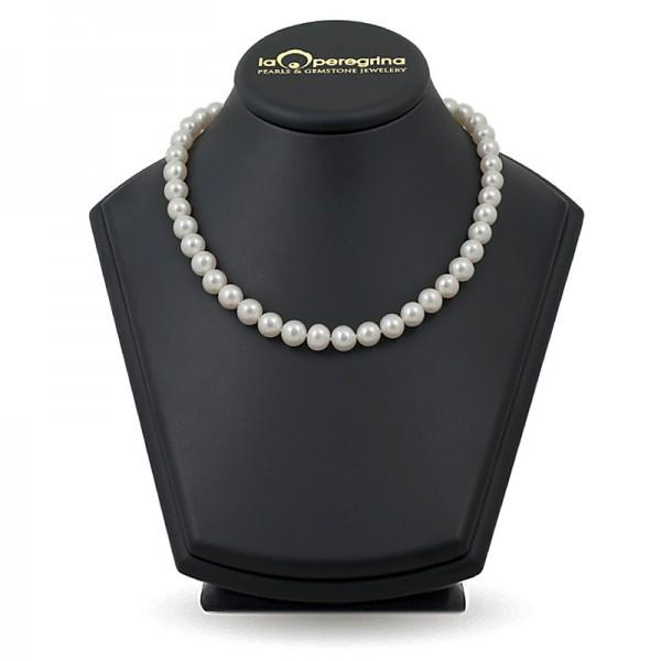 Ожерелье из белого пресноводного жемчуга ААА  элитного размера 9,0 - 9,5 мм