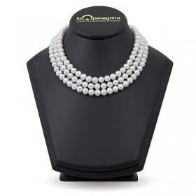 Triple necklace made of natural pearls 7.5 - 8.0 mm