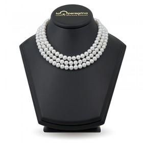 Тройное ожерелье 45 см из из белого пресноводного жемчуга ААА классического размера 7,5 - 8,0 мм