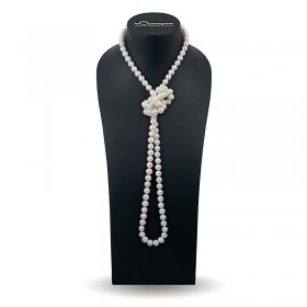Beads 120 cm from white natural pearls 9.0 - 9.5 mm