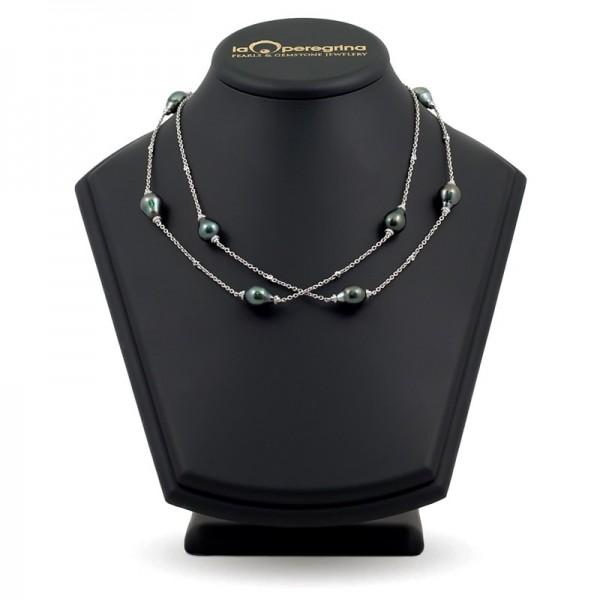 Ожерелье-бусы из морского жемчуга Таити на цепочке из золота 585 пробы