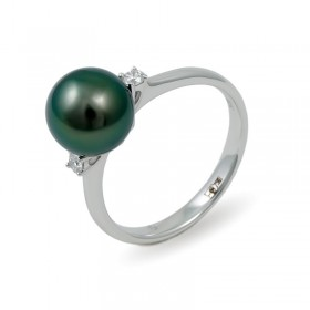 Ring in gold 750 with Tahitian pearls and diamonds