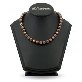 Ожерелье из шоколадного пресноводного жемчуга ААА, 9,0 - 9,5  мм с серебряными вставками-бусинами