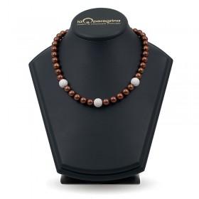 Ожерелье из шоколадного жемчуга ААА 10,0 - 10,5 мм с серебряными бусинами-вставками