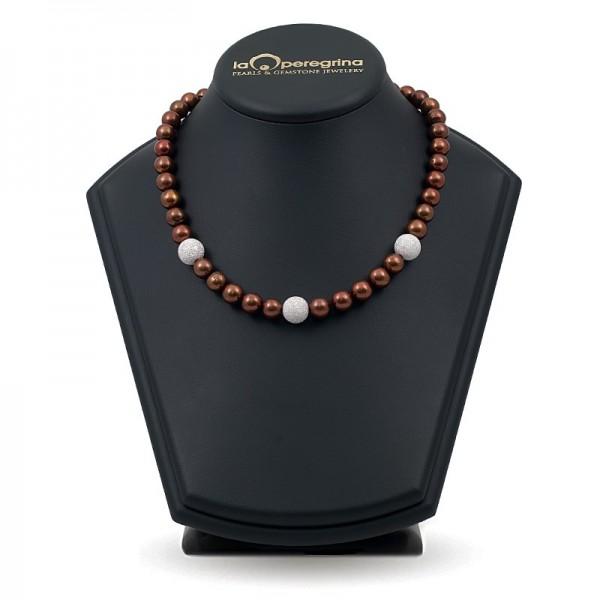 Ожерелье из натурального жемчуга ААА 10,0 - 10,5 мм с серебряными бусинами-вставками