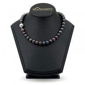 Ожерелье из черного пресноводного жемчуга крупного размера 10,0 - 10,5 мм