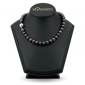 Necklace made of black natural pearls 10.0 - 10.5 mm