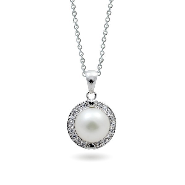925 sterling silver pendant with freshwater pearls and cubic zirconias