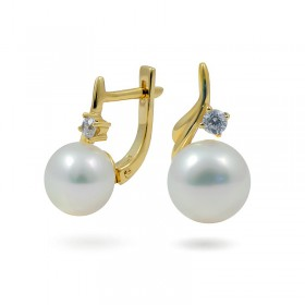 Earrings from 14 karat gold with natural pearls and cubic zirconias