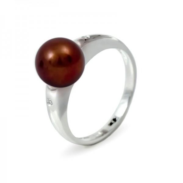 Кольцо из золота 585 пробы с шоколадным пресноводным жемчугом 7,5 мм и 2 бриллиантами 0,015К