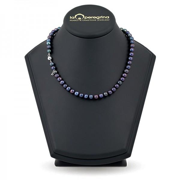 Ожерелье из черного пресноводного жемчуга ААА, 9,0 - 9,5 мм с серебряными вставками-бусинами