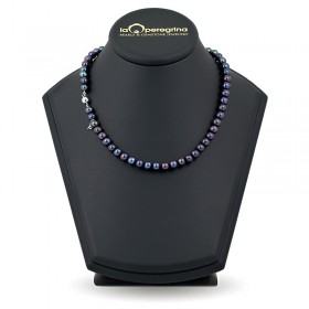 Necklace made of black natural pearls AA + 7.5 - 8.0 mm