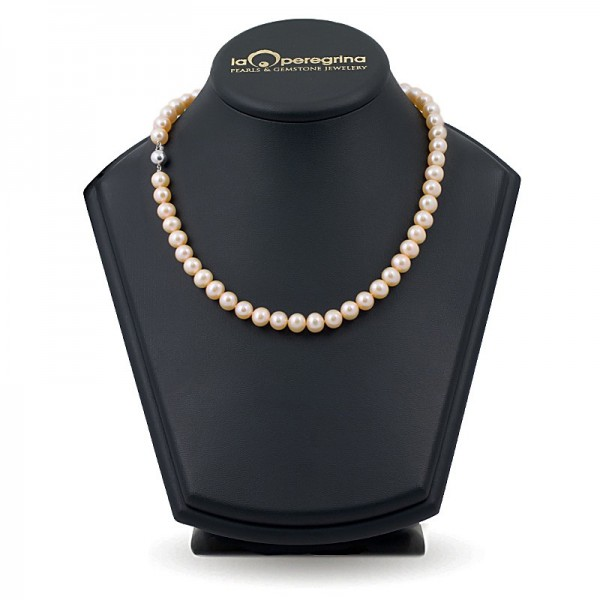 Ожерелье из розового натурального жемчуга ААА, 7,5 - 8,0 мм