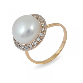 Ring from 14 karat gold with natural pearls