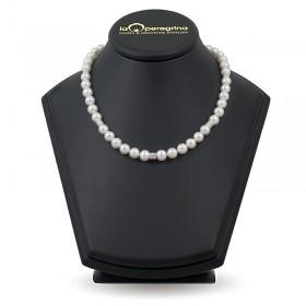 Ожерелье из белого пресноводного жемчуга ААА, 7,5 - 8,0 мм с серебряными вставками-бусинами