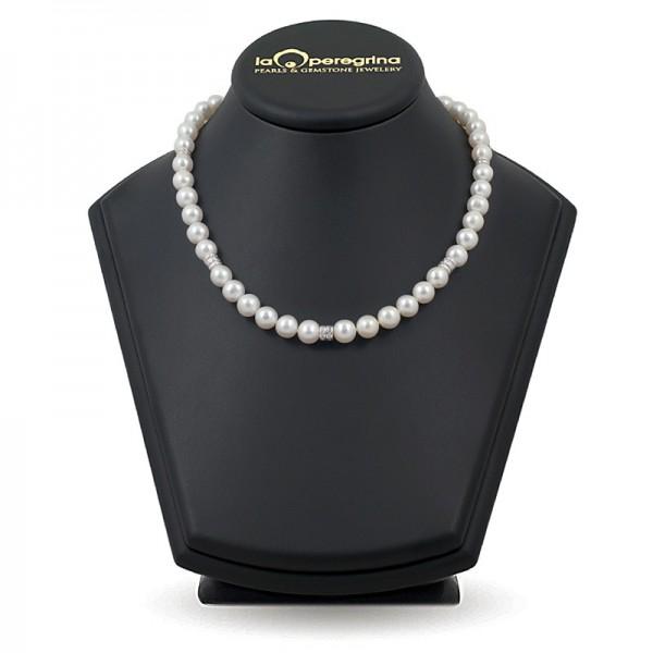 Ожерелье из натурального жемчуга ААА с бусинами-вставками из серебра 925 с фианитами
