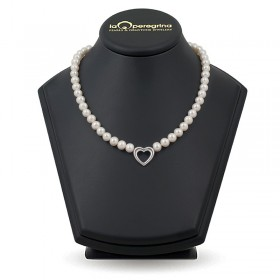 Natural pearl necklace 8.0 - 8.5 mm with a heart insert in silver 925