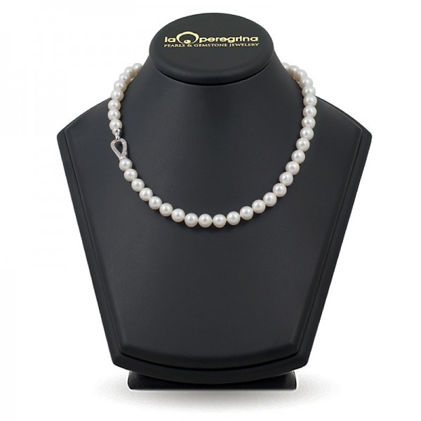Necklace made of natural pearls AA + 9.0 - 9.5 mm with a carbine lock in silver 925 with cubic zirconias
