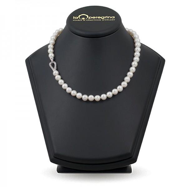 Ожерелье из натурального жемчуга АА+ 9,0 - 9,5 мм с замком-карабином из серебра 925 с фианитами