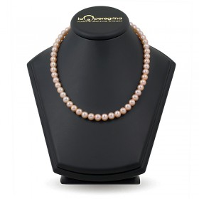 Necklace made of pink natural pearls 9.0 - 9.5 mm
