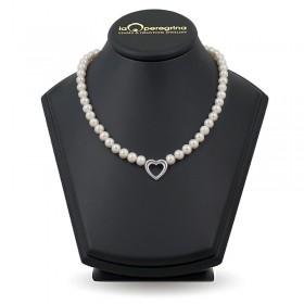 Ожерелье из белого пресноводного жемчуга ААА, 9,0 - 9,5 мм с серебряной вставкой в виде сердца
