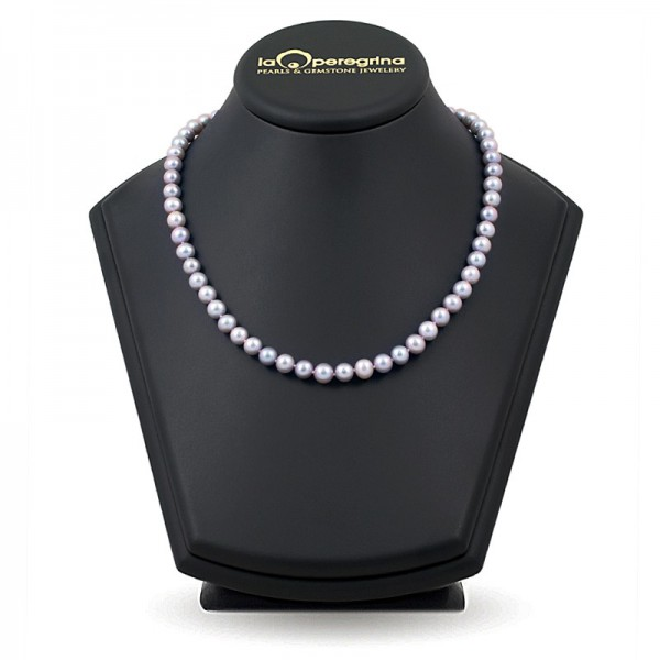 Necklace made of natural pearls in metallic AA color + 7.5 - 8.0 mm