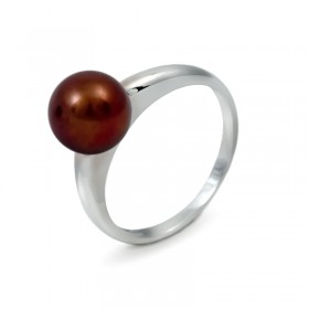 Кольцо из золота 585 пробы с шоколадным пресноводным жемчугом 7,5 мм