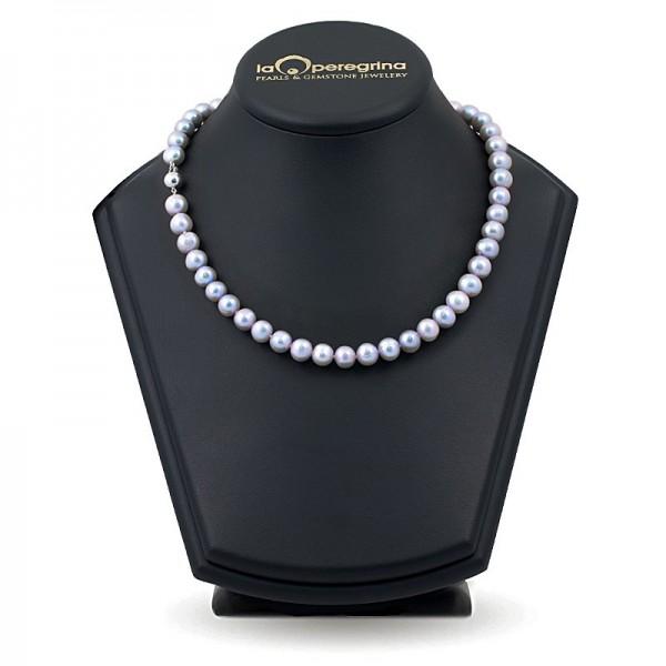 Ожерелье из серебряного пресноводного жемчуга элитного размера 9,0 - 9,5 мм