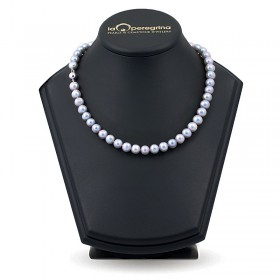 Natural pearl necklace metallic 9.0 - 9.5 mm